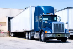 Blue truck at dock